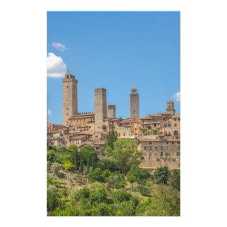 Panoramablick von San Gimignano Toskana Italien Briefpapier