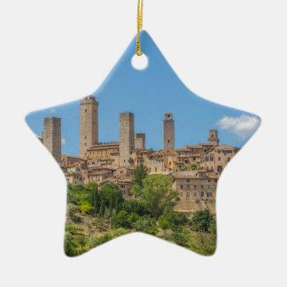 Panoramablick von San Gimignano Toskana Italien Keramik Ornament