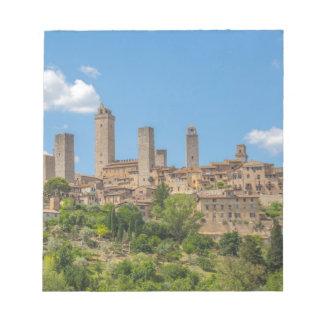 Panoramablick von San Gimignano Toskana Italien Notizblock