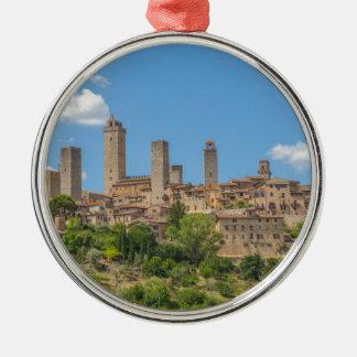 Panoramablick von San Gimignano Toskana Italien Silbernes Ornament