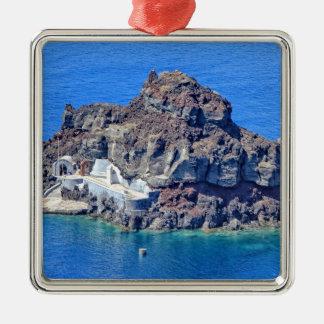 Panoramablick von Santorini Quadratisches Silberfarbenes Ornament