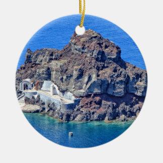 Panoramablick von Santorini Rundes Keramik Ornament