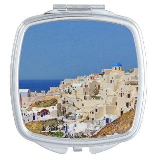Panoramablick von Santorini Schminkspiegel