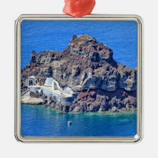 Panoramablick von Santorini Silbernes Ornament