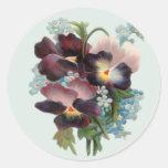 Pansy-Blumenstrauß Runde Sticker