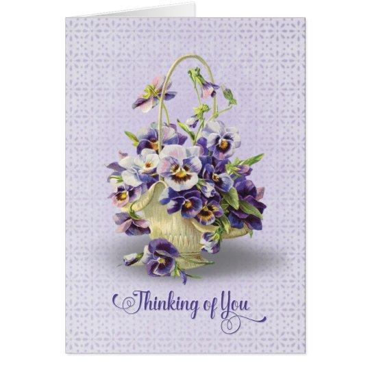 Pansy, der an Sie Blumenstrauß-denkt Grußkarte