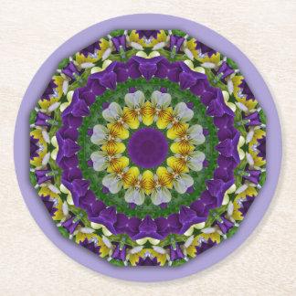 Pansy, Stiefmütterchen-Natur, Blume-Mandala Runder Pappuntersetzer