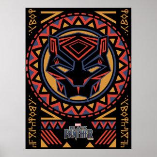 Panther-Kopf-Stammes- Muster des schwarzen Poster