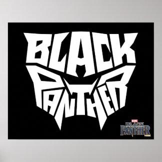 Panther-Kopf-Typografie-Grafik des schwarzen Poster
