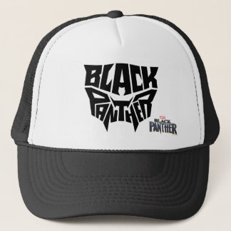 Panther-Kopf-Typografie-Grafik des schwarzen Truckerkappe