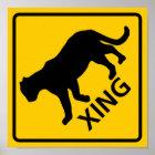 Panther-Überfahrt-Landstraßen-Zeichen Poster