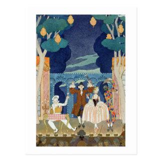 Pantomime Bühne, Illustration für 'Partys Galantes Postkarte