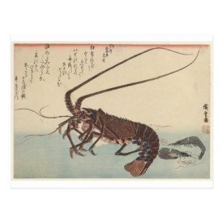 Panzerkrebse und zwei Garnelen durch Hiroshige Postkarte