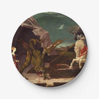 PAOLO UCCELLO - St George und der Drache 1470 Pappteller