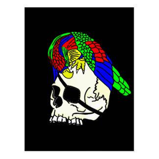 Papagei auf Piraten-Schädel mit schwarzem Postkarte