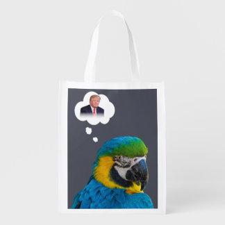 Papagei denkt an Trumpf-Indigo-dunkle Wolke Wiederverwendbare Einkaufstasche