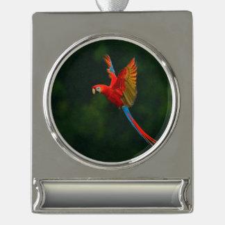 Papagei im Flug Banner-Ornament Silber