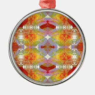 Papagei versieht Muster mit Federn Rundes Silberfarbenes Ornament
