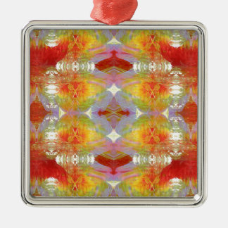 Papagei versieht Muster mit Federn Silbernes Ornament
