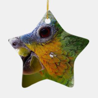 Papageien-Amazonas-Tier-Vogel-Grün-exotischer Keramik Ornament