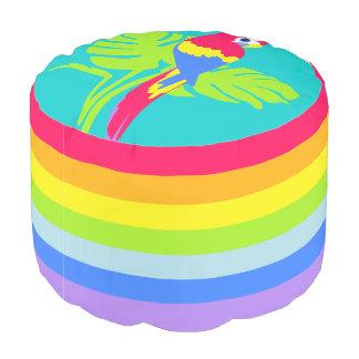 Papageien-Grafikpuff des bunten Kinderregenbogens Hocker