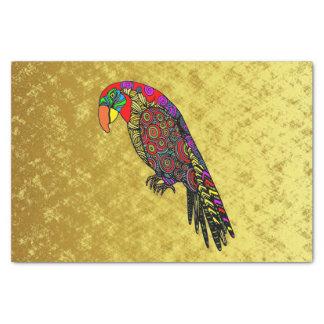 Papageien im gelben roten grün-blauen Gold Seidenpapier