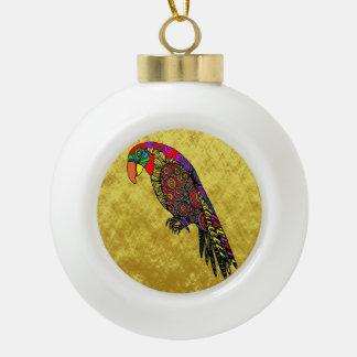 Papageien in der gelben roten grün-blauen keramik Kugel-Ornament