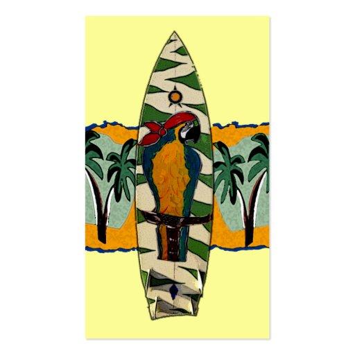 Papageien-Piraten-Brandungs-Brett-Karten Visitenkartenvorlagen