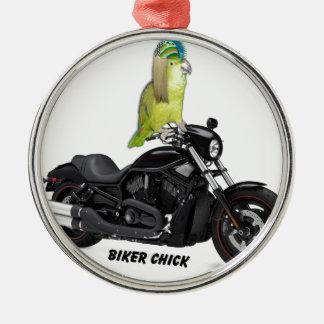 Papageien-Radfahrer-Küken auf Harley Davidson Silbernes Ornament