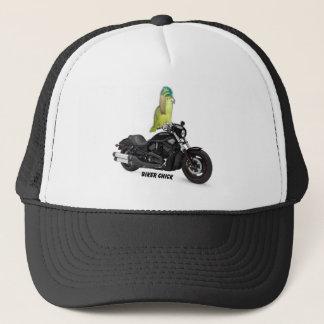Papageien-Radfahrer-Küken auf Harley Davidson Truckerkappe