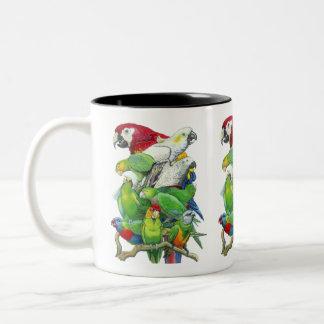 Papageien-Stau-Tasse Zweifarbige Tasse