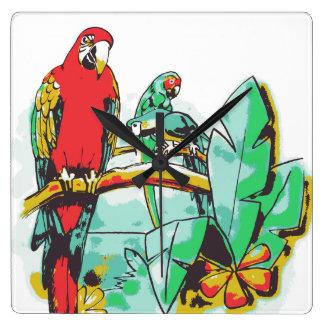 Papageien-Trio Quadratische Wanduhr