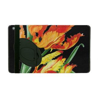 Papageien-Tulpen auf dem schwarzen Zeichnen Etui Fürs iPad