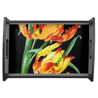 Papageien-Tulpen auf dem schwarzen Zeichnen Tablett