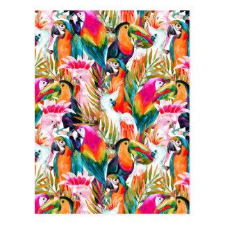 Papageien u. Palmblätter 2 Postkarte