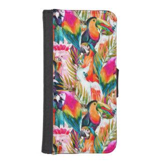 Papageien u. Palmblätter iPhone SE/5/5s Geldbeutel