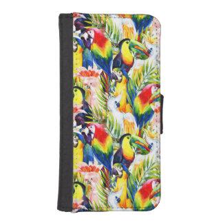 Papageien und Palmblätter Geldbeutel Hülle Für Das iPhone SE/5/5s