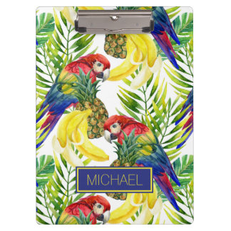 Papageien und tropische Frucht | addieren Ihren Klemmbrett