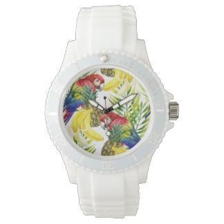 Papageien und tropische Frucht Armbanduhr