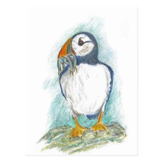 Papageientaucher mit Fisch-Imbiss Postkarte