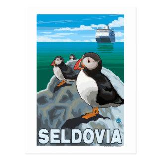 Papageientaucher u. Kreuzschiff - Seldovia, Alaska Postkarte