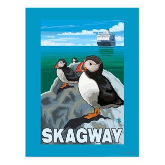 Papageientaucher u. Kreuzschiff - Skagway, Alaska Postkarte