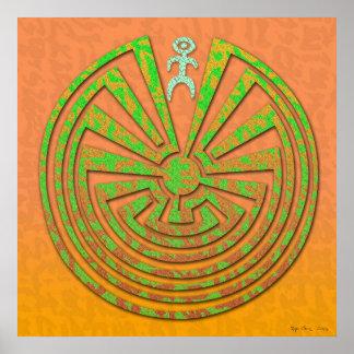 Papago Labyrinth-Kupfer-Grün Poster