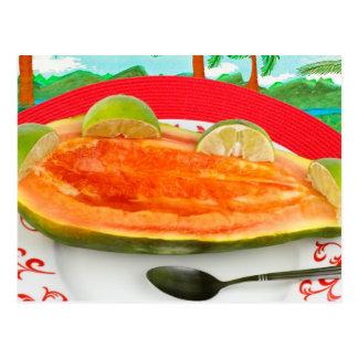 Papaya mit Limonem mit tropischer Ansicht-Malerei Postkarte