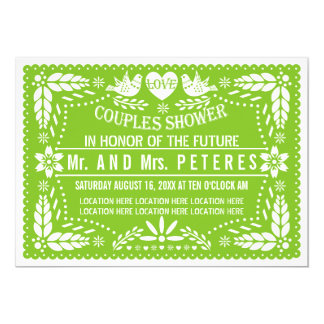 Papel picado Frühlingsgrünhochzeits-Paardusche 12,7 X 17,8 Cm Einladungskarte