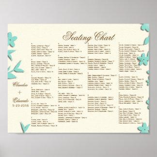 Papel Picado Hochzeits-Einladung - reizende Tauben Poster