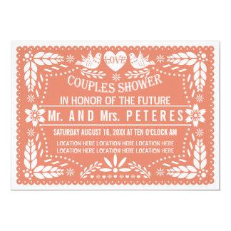 Papel picado korallenrote Hochzeits-Paardusche 12,7 X 17,8 Cm Einladungskarte