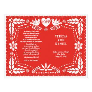 Papel Picado rote gefaltetes Programm Hochzeit Flyer