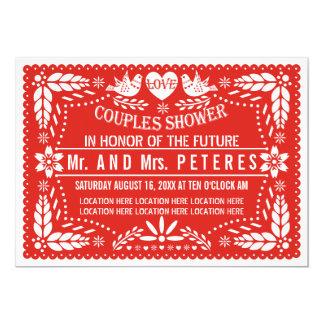 Papel picado rote Hochzeits-Paardusche 12,7 X 17,8 Cm Einladungskarte