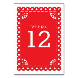 Papel Picado Tischnummer - Rot